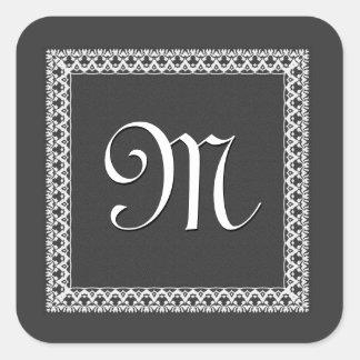 Gray and White  Ornate Monogram Square Sticker