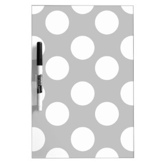 Gray and White Polka Dot Dry Erase Board