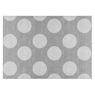 Gray and White Polka Dot Glass Cutting Board