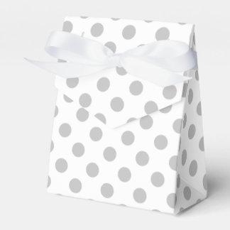 Gray and white polka dots favor box