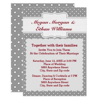 Gray and White Polka Dots Wedding Invitation
