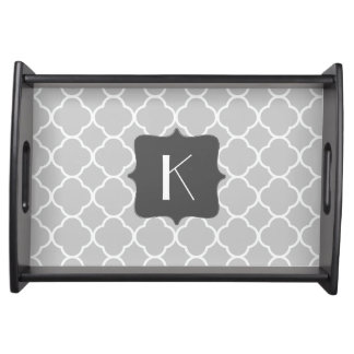 Gray and White Quatrefoil Monogram Serving Tray