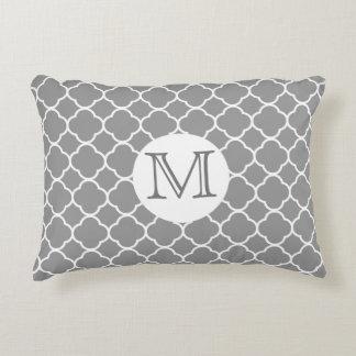 Gray and White Quatrefoil MonogramThrow Pillow
