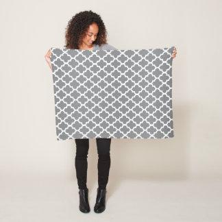 Gray and White Quatrefoil Pattern Fleece Blanket