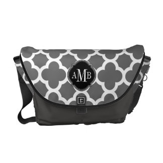 Gray and White Quatrefoil Pattern Monogram Commuter Bags