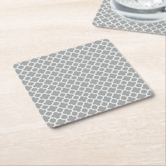 Gray and White Quatrefoil Square Paper Coaster