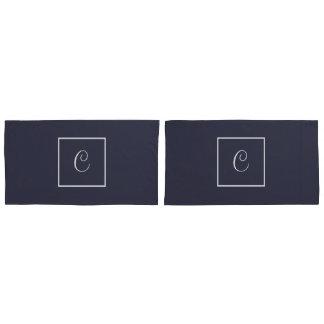 Gray and White Reversible Monogram Pillowcase