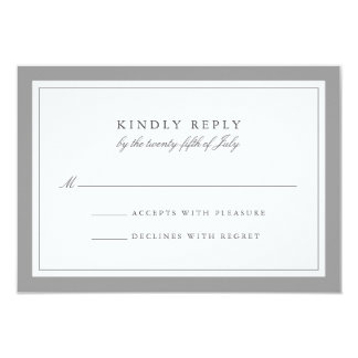 "Gray and White Simple Border Wedding RSVP Card 3.5"" X 5"" Invitation Card"
