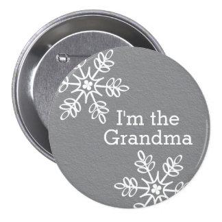 Gray and White Snowflake I'm the Grandma 3 Inch Round Button
