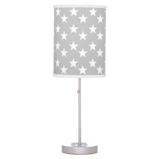 Gray and White Star Pattern Lamp