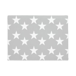 Gray and White Star Print Doormat