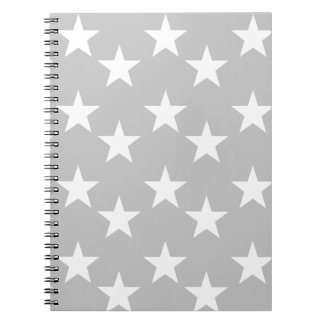 Gray and White Star Print Notebook