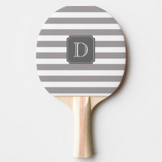 Gray And White Stripe Monogram Ping Pong Paddle