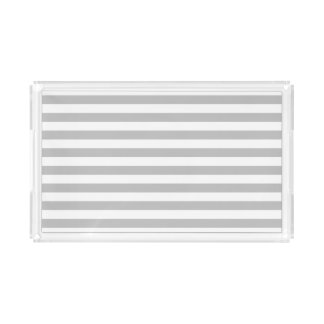 Gray and White Stripe Pattern Acrylic Tray