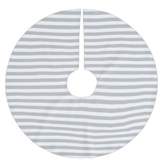 Gray and White Stripe Pattern Brushed Polyester Tree Skirt