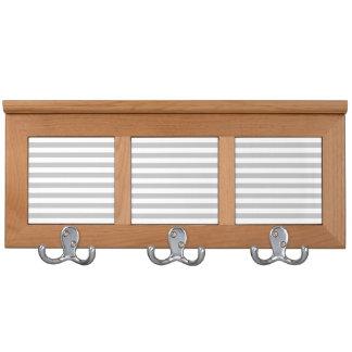 Gray and White Stripe Pattern Coat Rack