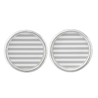 Gray and White Stripe Pattern Cuff Links