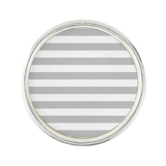 Gray and White Stripe Pattern Lapel Pin