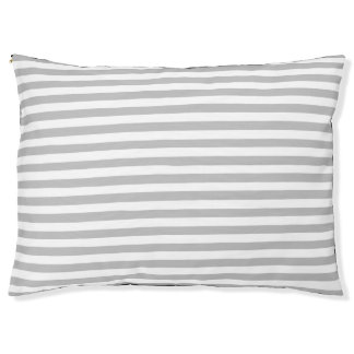 Gray and White Stripe Pattern Large Dog Bed