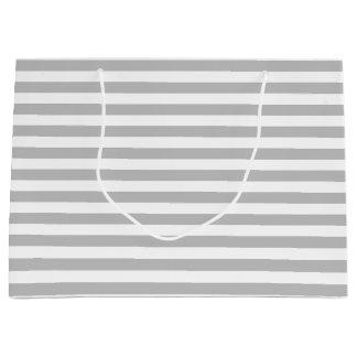 Gray and White Stripe Pattern Large Gift Bag