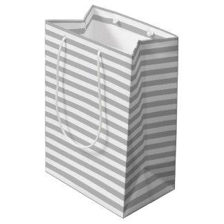 Gray and White Stripe Pattern Medium Gift Bag