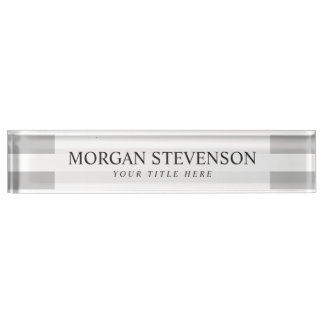 Gray and White Stripe Pattern Name Plate