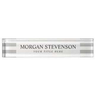 Gray and White Stripe Pattern Nameplate