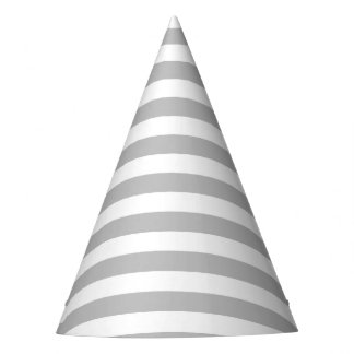 Gray and White Stripe Pattern Party Hat