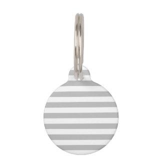 Gray and White Stripe Pattern Pet Name Tag