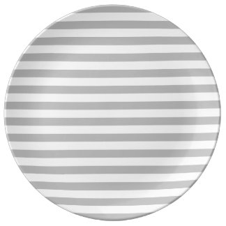 Gray and White Stripe Pattern Plate