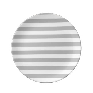 Gray and White Stripe Pattern Porcelain Plates