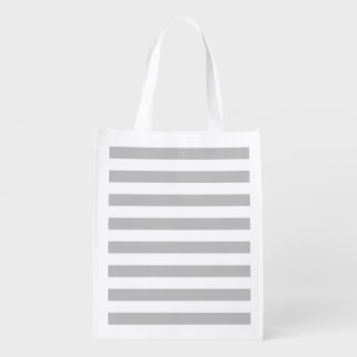 Gray and White Stripe Pattern Reusable Grocery Bag