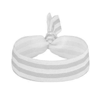 Gray and White Stripe Pattern Ribbon Hair Ties