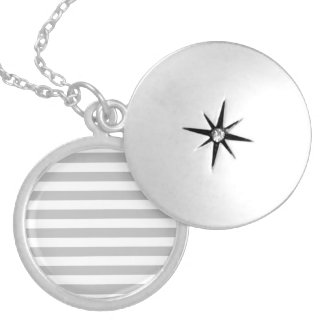 Gray and White Stripe Pattern Silver Plated Necklace