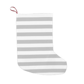 Gray and White Stripe Pattern Small Christmas Stocking