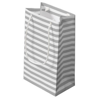 Gray and White Stripe Pattern Small Gift Bag