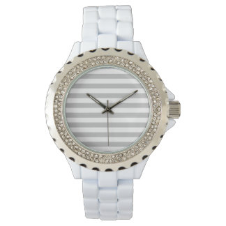 Gray and White Stripe Pattern Watch