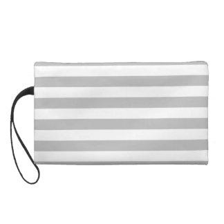 Gray and White Stripe Pattern Wristlet