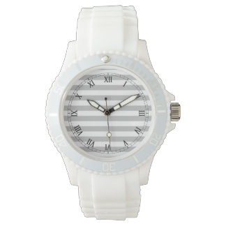 Gray and White Stripe Pattern Wristwatch