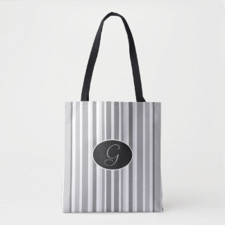 Gray and White Striped Black Monogram Tote Bag