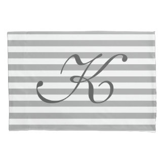 Gray and white striped monogrammed pillowcase