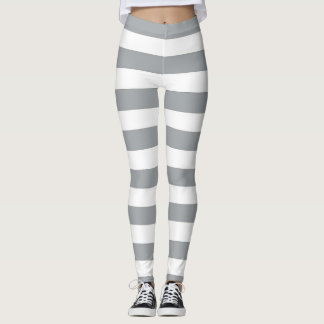 Gray and White Stripes Leggings