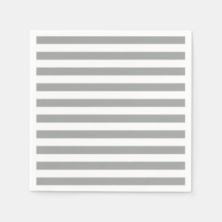 Gray and White Stripes Paper Napkin
