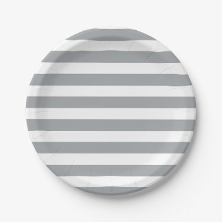 Gray and White Stripes Paper Plate