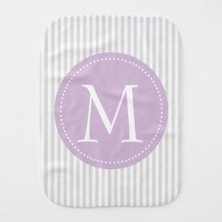 Gray And White Stripes Purple Custom Monogram Burp Cloth