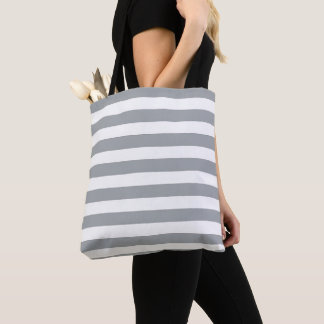 Gray and White Stripes Tote Bag