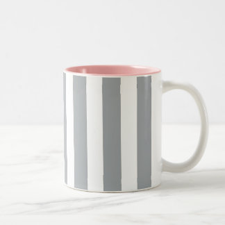 Gray and White Stripes Two-Tone Coffee Mug