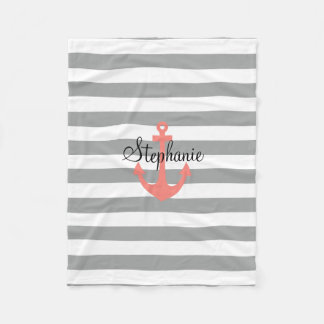 Gray and White Stripes with Coral  Nautical Anchor Fleece Blanket