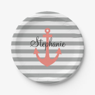 Gray and White Stripes with Coral  Nautical Anchor Paper Plate