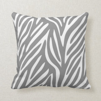 Gray and White Stylized Zebra Pattern Throw Pillow